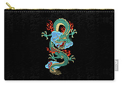 The Great Dragon Spirits - Turquoise Dragon On Black Silk Carry-all Pouch by Serge Averbukh