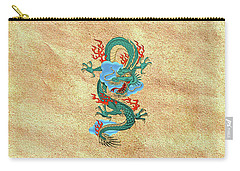 The Great Dragon Spirits - Turquoise Dragon On Rice Paper Carry-all Pouch by Serge Averbukh