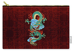 The Great Dragon Spirits - Turquoise Dragon On Red Silk Carry-all Pouch by Serge Averbukh