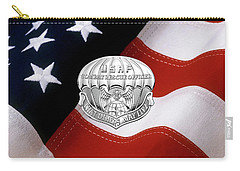 U. S.  Air Force Combat Rescue Officer - C R O Badge Over American Flag Carry-all Pouch by Serge Averbukh