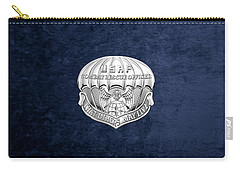 U. S.  Air Force Combat Rescue Officer - C R O Badge Over Blue Velvet Carry-all Pouch by Serge Averbukh