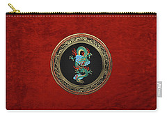 Treasure Trove - Turquoise Dragon Over Red Velvet Carry-all Pouch by Serge Averbukh