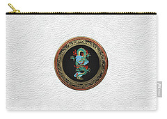 Treasure Trove - Turquoise Dragon Over White Leather Carry-all Pouch by Serge Averbukh