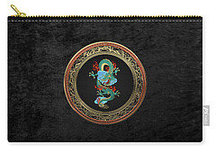 Treasure Trove - Turquoise Dragon Over Black Velvet Carry-all Pouch by Serge Averbukh
