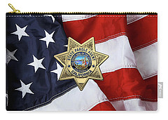 California State Parole Agent Badge Over American Flag Carry-all Pouch by Serge Averbukh