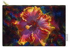 Rainbow Hibiscus Tropical Flower Wall Art Botanical Oil Painting Radiance  Carry-all Pouch
