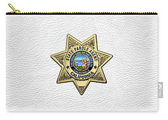 California State Parole Agent Badge Over White Leather Carry-all Pouch by Serge Averbukh