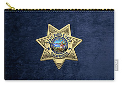 California State Parole Agent Badge Over Blue Velvet Carry-all Pouch by Serge Averbukh