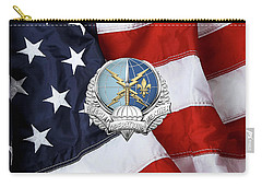 Special Operations Weather Team -  S O W T  Badge Over American Flag Carry-all Pouch by Serge Averbukh