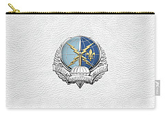 Special Operations Weather Team -  S O W T  Badge Over White Leather Carry-all Pouch by Serge Averbukh