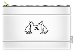 Black White Rabbits Line Carry-all Pouch