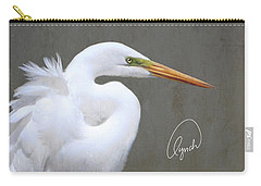 Portrait Of An Egret Signed Carry-all Pouch