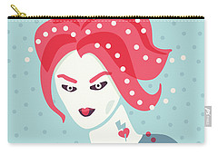 Portrait Of A Weird Girl With Pink Hair Carry-all Pouch