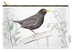 Carry-all Pouch featuring the painting Ms. Blackbird Is Brown by Ivana Westin