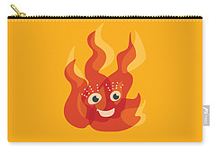 Happy Orange Burning Fire Character Carry-all Pouch