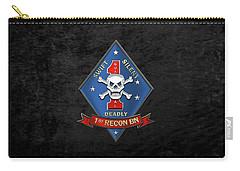 U S M C  1st Reconnaissance Battalion -  1st Recon Bn Insignia Over Black Velvet Carry-all Pouch