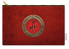 Chinese Zodiac - Year Of The Dog On Red Velvet Carry-all Pouch