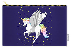 Pretty Rainbow Unicorn Flying Horse Carry-all Pouch