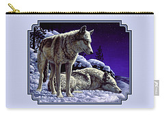 Wolf Painting - Night Watch Carry-all Pouch by Crista Forest