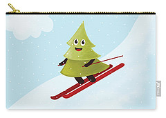 Happy Pine Tree On Ski Carry-all Pouch