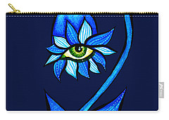 Weird Blue Staring Creepy Eye Flower Carry-all Pouch
