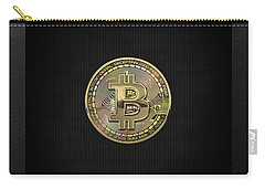 Gold Bitcoin Effigy Over Black Canvas Carry-all Pouch