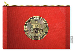 Gold Bitcoin Effigy Over Red Canvas Carry-all Pouch