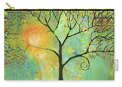 Hello Sunshine Tree Birds Sun Art Print Carry-all Pouch