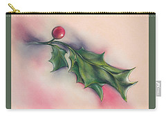 Carry-all Pouch featuring the drawing Holly Berry And Leaves by MM Anderson