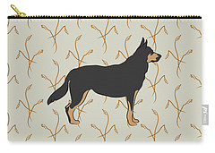Carry-all Pouch featuring the digital art German Shepherd Dog With Field Grasses by MM Anderson
