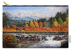 Western Mountain Landscape Autumn Mountain Man Trapper Beaver Dam Frontier Americana Oil Painting Carry-all Pouch by Walt Curlee