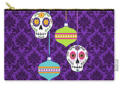 Feliz Navidad Holiday Sugar Skulls Carry-all Pouch