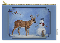 Whitetail Deer And Snowman - Whose Carrot? Carry-all Pouch