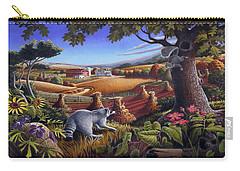 Rural Country Farm Life Landscape Folk Art Raccoon Squirrel Rustic Americana Scene  Carry-all Pouch