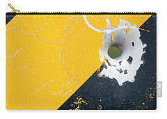 Carry-all Pouch featuring the photograph Bullet Hole On The Yellow Black Line by Bill Kesler