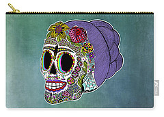 Carry-all Pouch featuring the drawing Catrina Sugar Skull by Tammy Wetzel