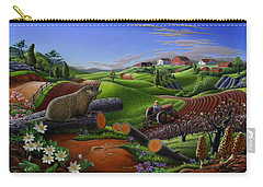 Farm Folk Art - Groundhog Spring Appalachia Landscape - Rural Country Americana - Woodchuck Carry-all Pouch