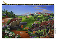 Farm Folk Art - Groundhog Spring Appalachia Landscape - Rural Country Americana - Woodchuck Carry-all Pouch