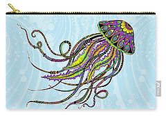 Carry-all Pouch featuring the drawing Electric Jellyfish by Tammy Wetzel