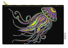 Carry-all Pouch featuring the drawing Electric Jellyfish On Black by Tammy Wetzel