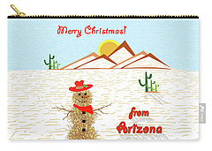 Tumbleweed Snowman Christmas Card Carry-all Pouch by Methune Hively