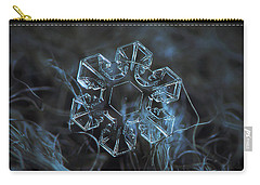 Carry-all Pouch featuring the photograph Snowflake Photo - The Core by Alexey Kljatov