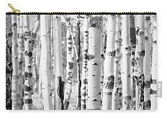 Carry-all Pouch featuring the photograph Aspens In Black And White  by Saija Lehtonen