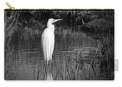 Assateague Island Great Egret Ardea Alba In Black And White Carry-all Pouch