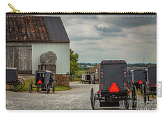 Assorted Amish Buggies At Barn Carry-all Pouch