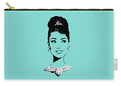 Audrey In Tiffany Blue Carry-all Pouch by Rene Flores