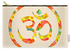 Carry-all Pouch featuring the painting Aum Symbol Abstract Digital Painting by Georgeta Blanaru