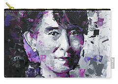 Carry-all Pouch featuring the painting Aung San Suu Kyi by Richard Day
