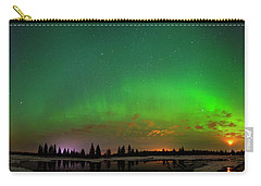 Aurora Over Pond Panorama Carry-all Pouch