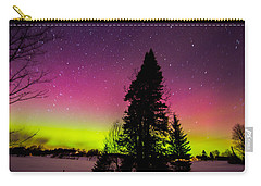 Aurora With Spruce Tree Carry-all Pouch by Tim Kirchoff